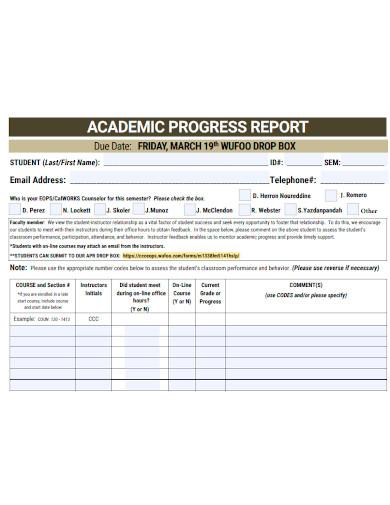academic progress report sample