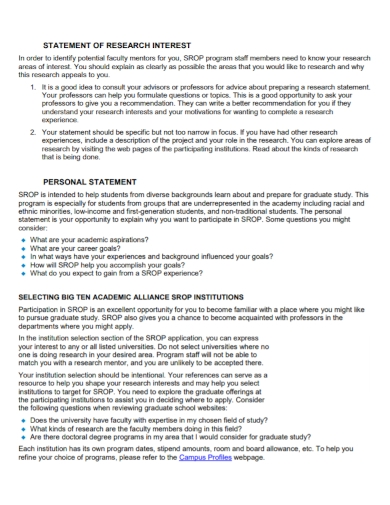 academic research interest personal statement