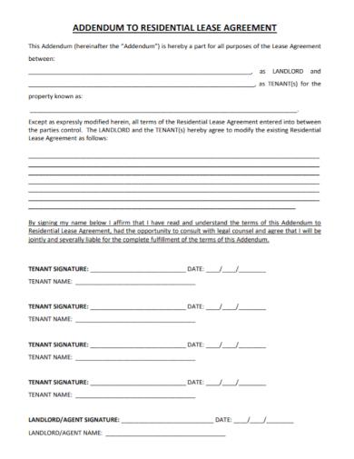 addendum to residential landlord tenant agreement