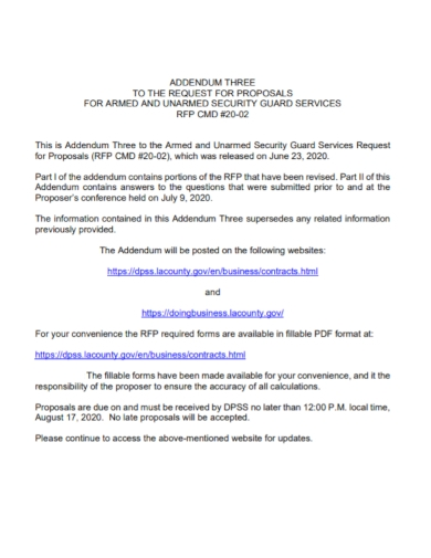 addendum to security guard services proposal