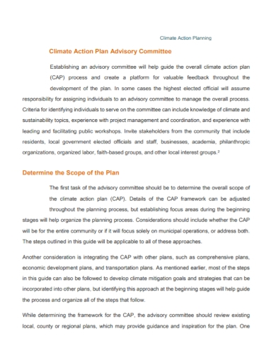 advisory committee climate action plan