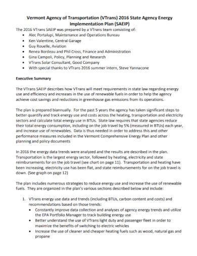 agency energy implementation plan
