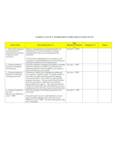 agency workforce implementation plan