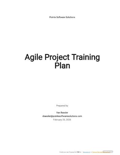 agile project training plan template