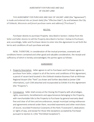 agreement for purchase and sale of vacant land