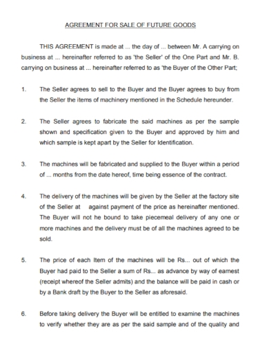 agreement for sale of future goods