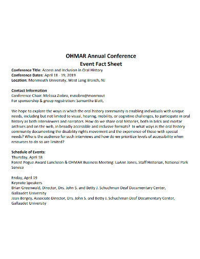 annual conference event fact sheet