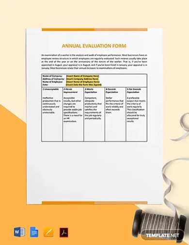annual evaluation form sample