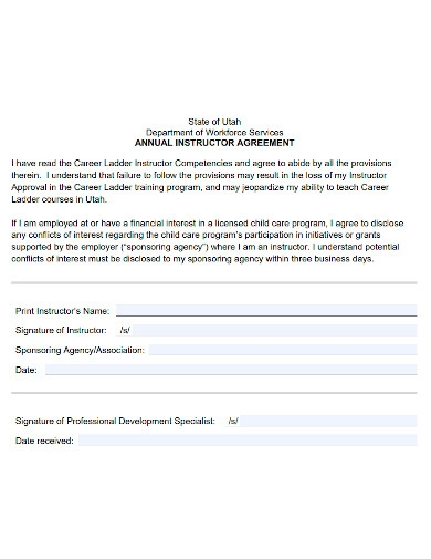 annual instructor agreement