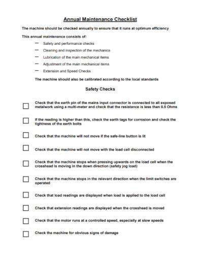 annual machine maintenance checklist