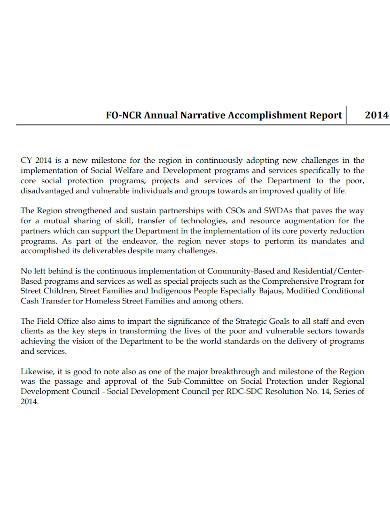annual narrative accomplishment report