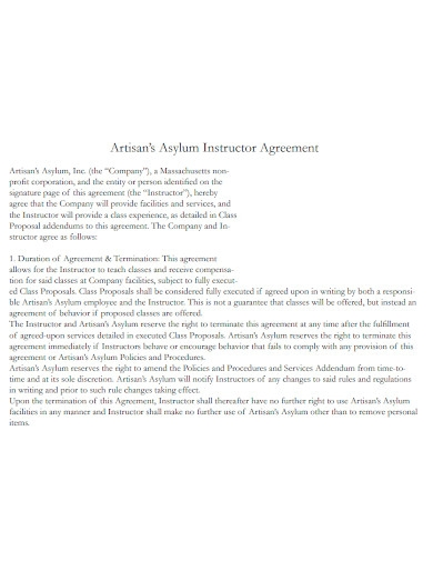 artisan's instructor agreement