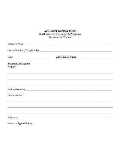 arts school accident report form