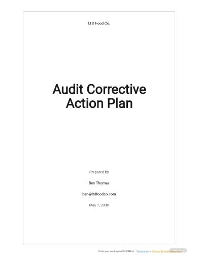 audit corrective action plan template