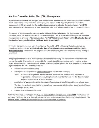 audit corrective management action plan