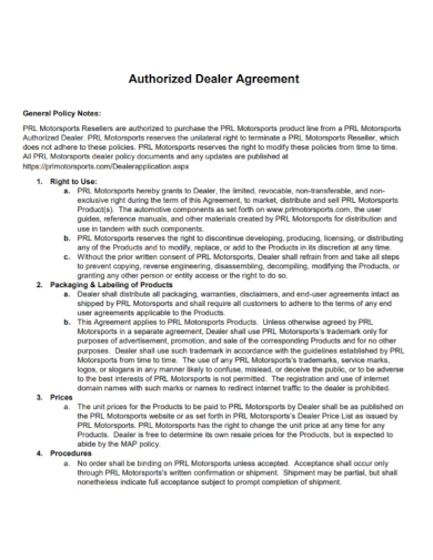 authorized dealer policy agreement