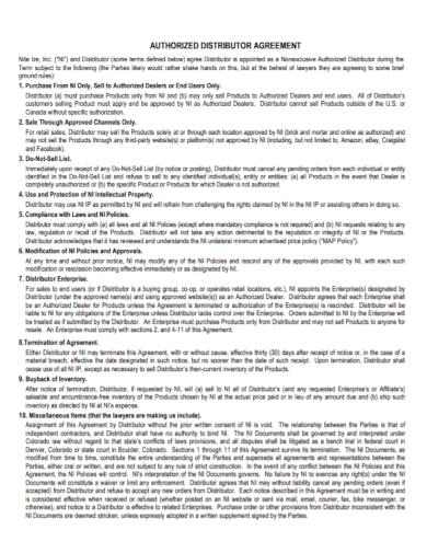 authorized distributor dealership agreement