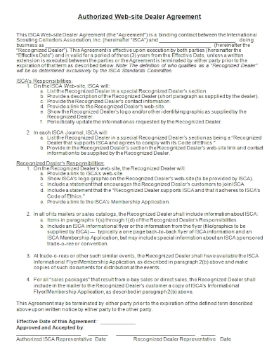 authorized website dealer agreement