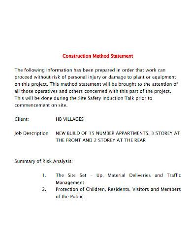 basic construction method statement