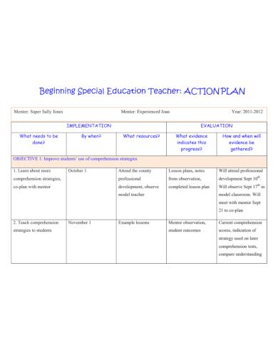 beginning education teacher action plan