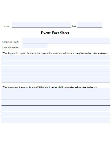 blank event fact sheet