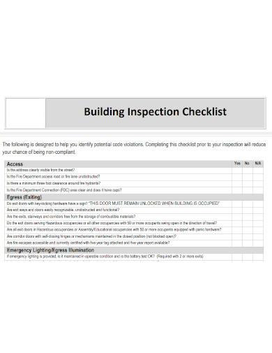 building inspection checklist sample