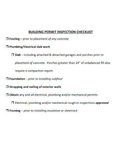 building permit inspection checklist