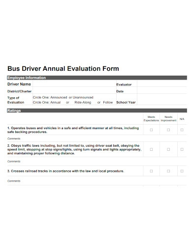 bus driver annual evaluation form