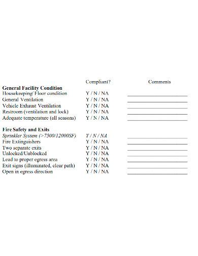 bus facility inspection checklist