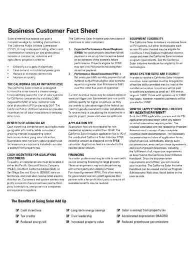 business customer fact sheet