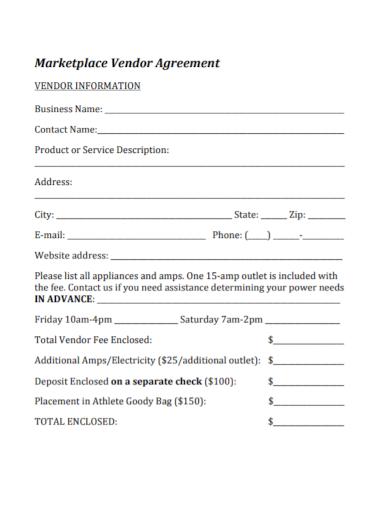 business marketplace vendor agreement