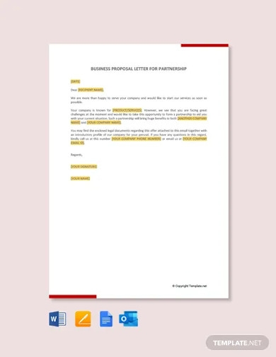 business partnership proposal letter sample