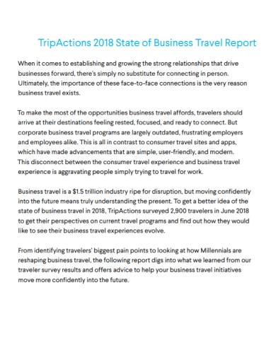 business travel action report