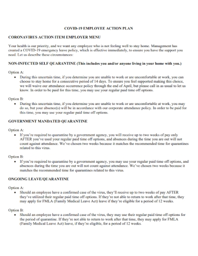 covid 19 employer employee action plan