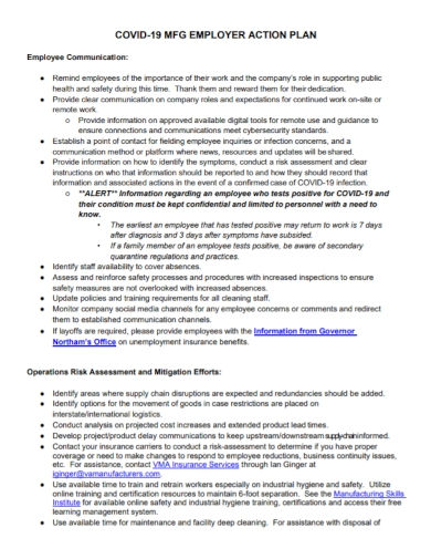 covid19 employer action plan
