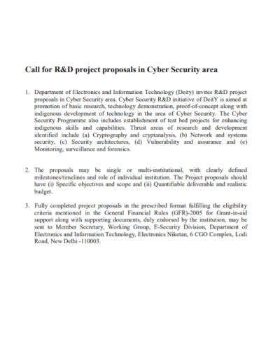 call for cyber security project proposal