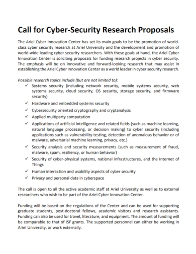 call for cyber security research proposal