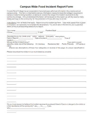 campus wide food incident report form