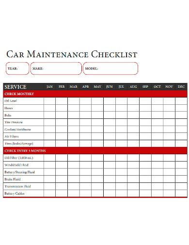 car maintenance checklist sample