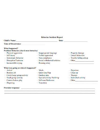 child behavior incident report