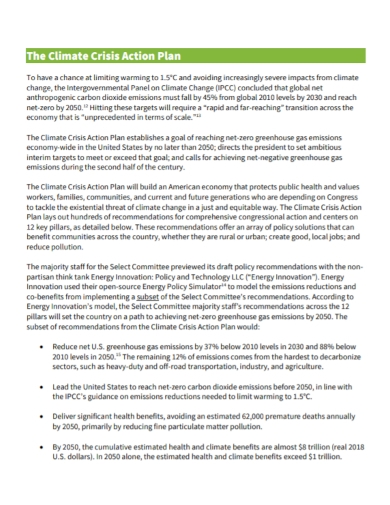 climate crisis action plan