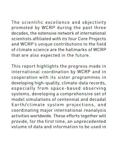 climate research accomplishment report