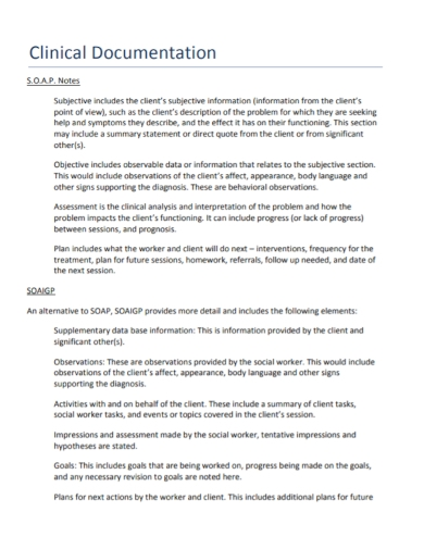 clinical documentation soap note