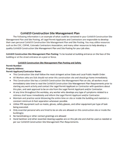 covid19 construction site safety management plan