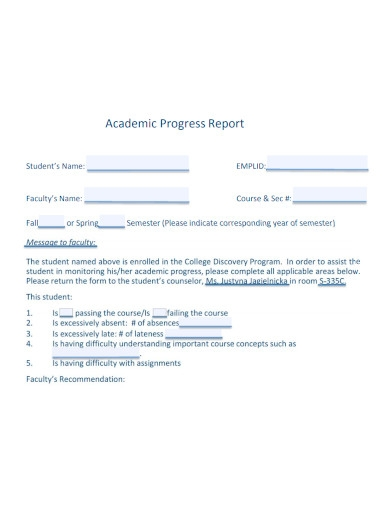 college student academic progress report