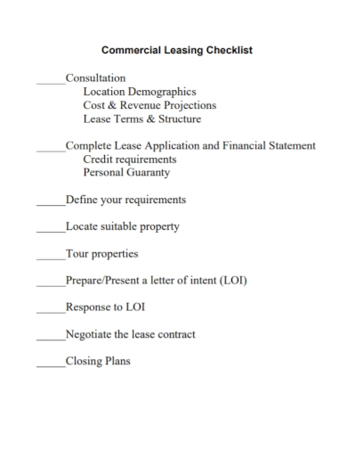 commercial lease checklist