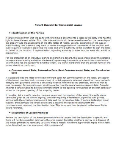 commercial lease tenant checklist