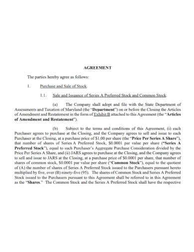 common stock sale and purchase agreement