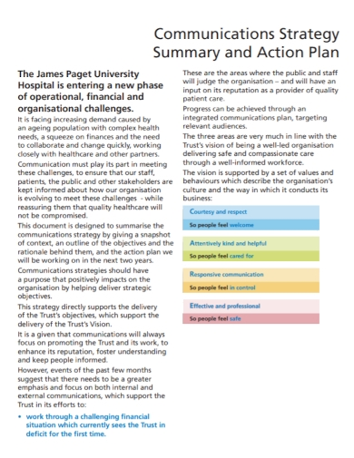 communication strategy summary action plan