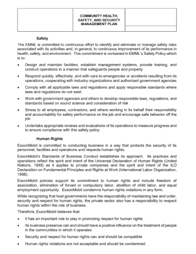 community health and safety management plan